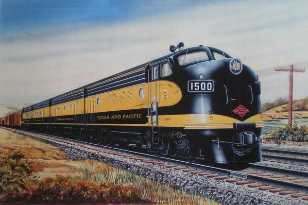 Builder's portrait of Texas & Pacific EMD F7 No. 1500 in alternate paint livery.