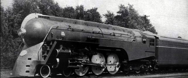 A New York Central's 4-6-4 Hudson streamlined steam locomotive on the Mercury passenger train, circa September 30, 1939.