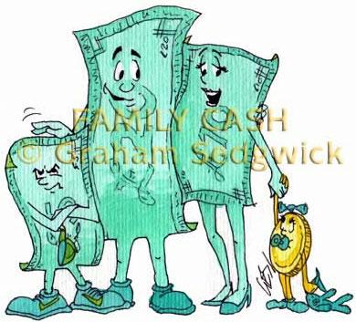 cartoon character money family cash father, mother and kids fiver and penny book illustration