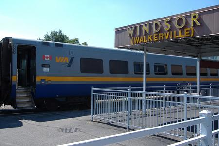 VIA 1 Coach No. 3466 at Windsor, Ontario.