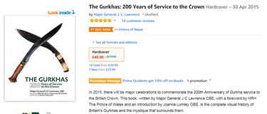 Craig Lawrence book about the Gurkhas again becomes an Amazon best-seller - 30 September 2018