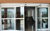 automatic sliding door with push open