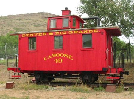 A Bobber 4-wheel caboose of the Denver and Rio Grande Railroad preserved at the Colorado Railroad Museum, Golden, Colorado.