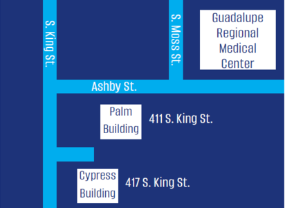 Map to the Guadalupe Regional Medical Group