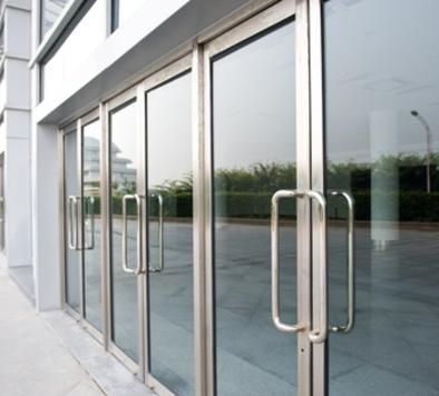 Photo of storefront door glass