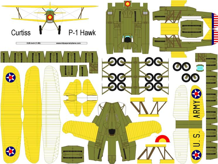 DIY 4D model template of Curtiss Hawk