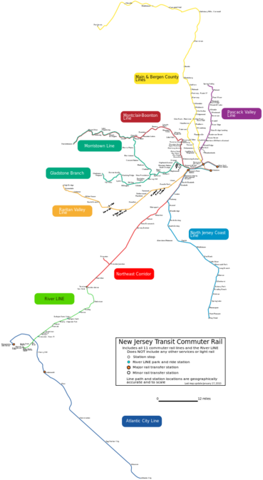 NJ Transit Commuter Rail Map