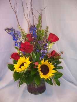 NB-6CYMIX1 Sunflowers, Delphiniums, Roses