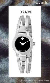 Watch Information Brand, Seller, or Collection Name Movado Model number 604759 Part Number 604759 Model Year 2016 Item Shape Round Dial window material type Scratch resistant sapphire Display Type Analog Clasp Jewelry-clasp Case material Stainless steel Case diameter 24 millimeters Case Thickness 6 millimeters Band Material Stainless steel Band length womens Band width 14 millimeters Band Color Silver Dial color Black Bezel material Stainless steel Bezel function Stationary Special features Water Resistant Item weight 15.84 Ounces Movement Swiss quartz Water resistant depth 99 Feet