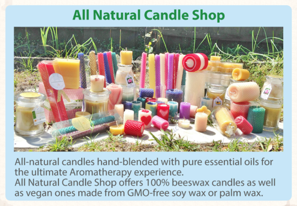 All Natural Candle Shop; Beeswax candles; Palm wax candles; Soy wax candles