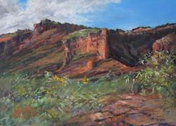 Canyon Secrets, miniature pastel landscape of Caprock Canyons State Park, TX by Lindy C Severns