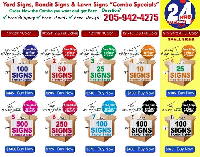 Full Color Lawn Signs 18in X 24in