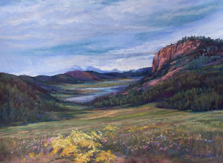 High Summer on the Rio Grande, original southwestern landscape painting. Lindy C Severns, Old Spanish Trail Studio, Fort Davis, TX. Rocky Mountains in summer.