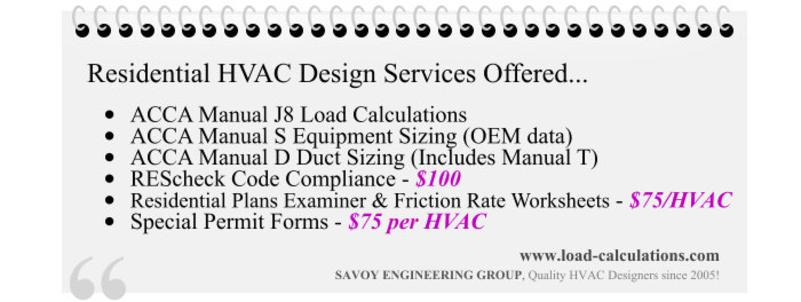 Residential HVAC Design Services Offered