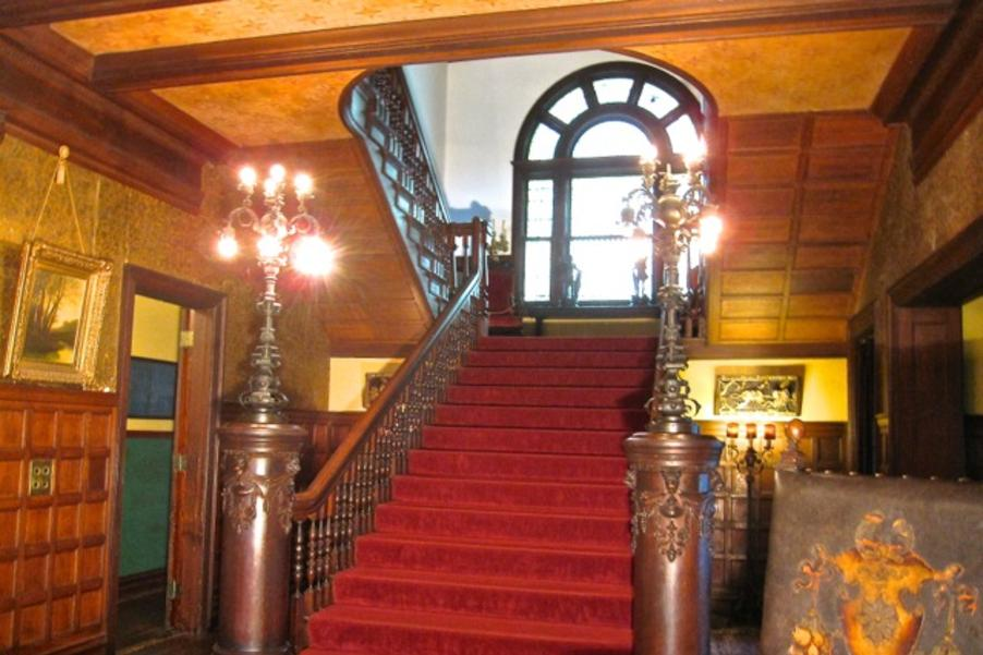 Grand Staircase at Rockcliffe Mansion, a House Museum and Bed and Breakfast in Hannibal Missouri
