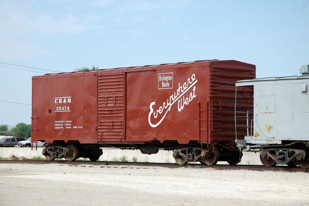 A CB&Q boxcar at the Illinois Railway Museum.