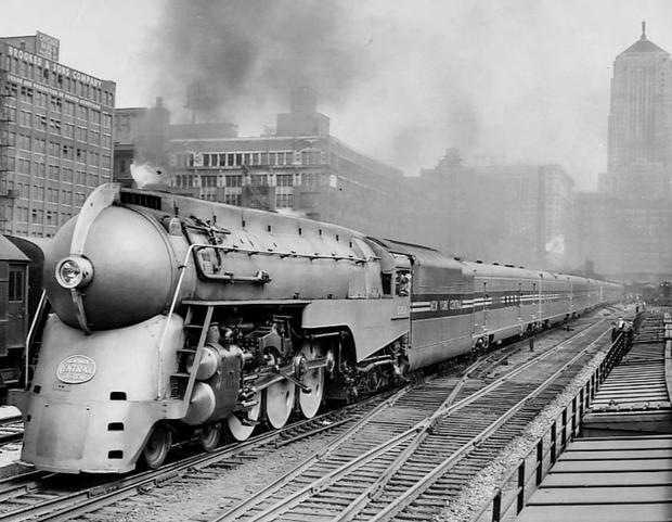 The New York Central's streamlined 20th Century Limited leaving Chicago's LaSalle Street station on a trial run June 9, 1938. The train was put into service on June 15, 1938. Associated Press photo .