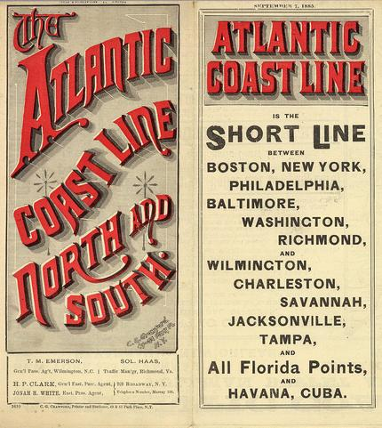An Atlantic Coast Line timetable, circa 1885.