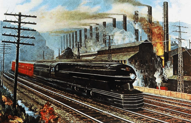 "Broadway Limited with Pennsy's ""Big Engine"" 6100, a painting by Grif Teller from 1941 (PRR)."