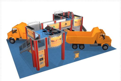 Double deck 50 x 40 trade show booth for Lift Hauling company arial view.
