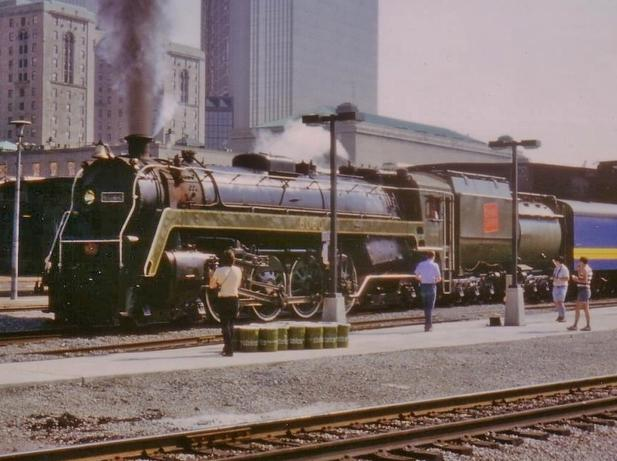 Canadian National No 6060 leaving Union Station on the last steam train to leave that station.