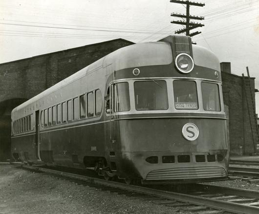 New York, Susquehanna and Western Railway streamlined locomotive (Motorailer) constructed by the American Car and Foundry company, c.1940.