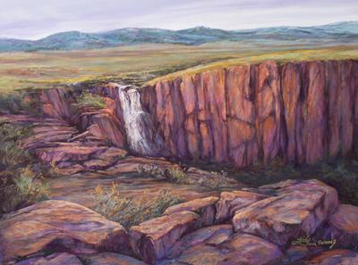 Rocky Mountain Champagne, pastel landscape painting of North Clear Creek Falls in Colorado by Outlaw Pastelist Lindy Cook Severns, Fort Davis, TX