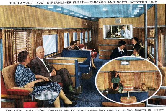 Observation Lounge car with Speedometer on the C&NW 400.