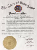 Maryland tax attorney Charles Dillon received a proclamation from the State of Maryland