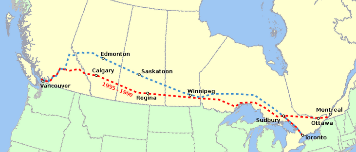 Route Map of the Canadian. The old route is in red, the new route is in blue.