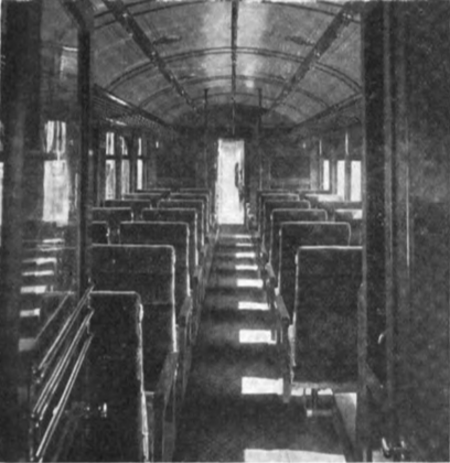 Passenger compartment of a Drake Railway Automotrice on the Missouri, Oklahoma and Gulf Railway.