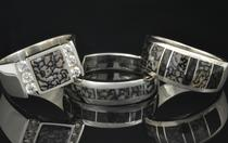 Men's dinosaur bone rings by Hileman Silver Jewelry