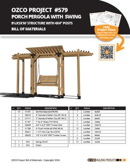 Porch Swing Project #579 Plans