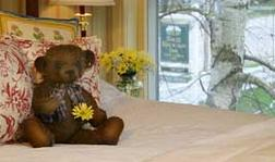 Bear on bed with Link to rooms