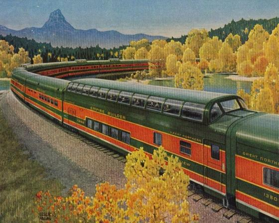 A Leslie Ragan painting depicting a Great Dome on the GN's Empire Builder.