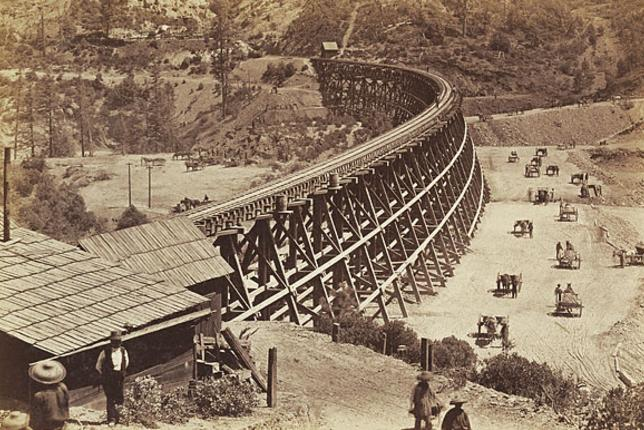 Trestle on Central Pacific Railroad, by Carleton E. Watkins. Negative, 1868-1870; print, about 1880. Getty Museum.
