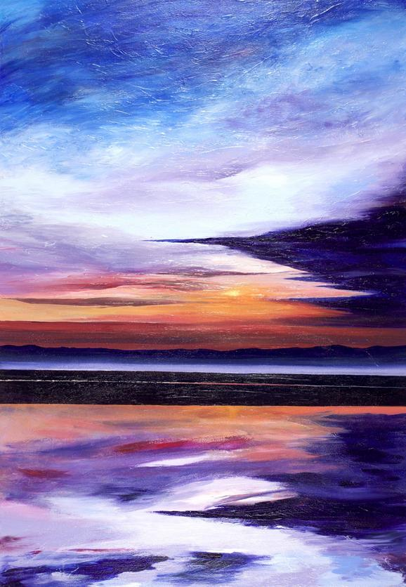 Evening Sun. 100x70cm. Original contemporary re-imagined acrylic seascape/sunset painting for sale by Irish artist Orfhlaith Egan.