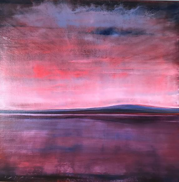 May Light (Lough Corrib) 2019. 50x50cm. Acrylic paint on artist board, varnished. The Cornamona Collection by Orfhlaith Egan Art, Berlin and Cornamona.