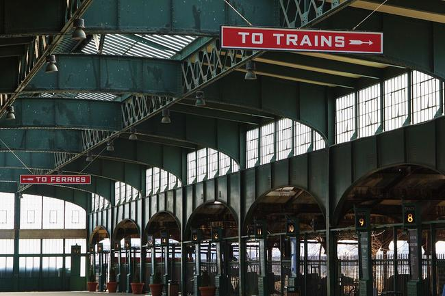 Inside the Communipaw Terminal.