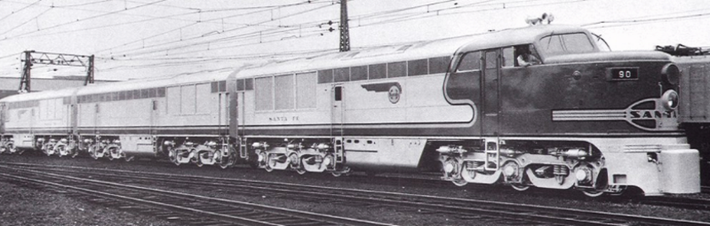 The lone A-B-A set of Erie-builts ordered by the Atchison, Topeka and Santa Fe Railway, built in May 1947, hauled a number of its named passenger trains, among them the Super Chief and San Diegan.