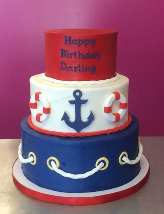 3 Tier Nautical Themed Anchor Life Preserver Cake