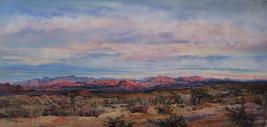 A Terlingua Sunset, large pastel landscape painting by Big Bend Artist Lindy Cook Severns, Old Spanish Trail Studio Ft Davis TX