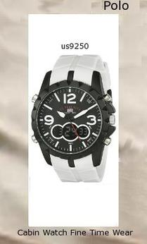 Watch Information Brand, Seller, or Collection Name U.S. Polo Assn. Model number US9250 Part Number US9250 Model Year 2014 Item Shape Round Dial window material type Glass Display Type Analog-Digital Clasp Buckle Case material Metal Case diameter 45 millimeters Case Thickness 14 millimeters Band Material Silicone Band length Mens-Standard Band width 22 millimeters Band Color White Dial color Black Bezel material Metal Bezel function Stationary Movement Analog-Quartz
