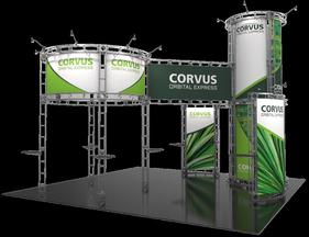 Corvus 20 x 20 Orbital Express island booth left side view.
