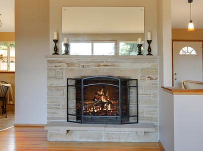 Photo of fireplace glass