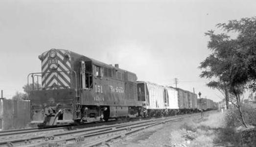 D&RGW No. 151, an F-M H-15-44 westboundwith 12 cars leaving Denver, Colorado, July 9, 1952.