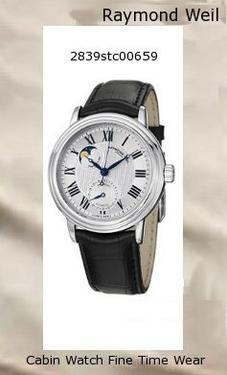 Watch Information Brand, Seller, or Collection Name Raymond Weil Model number 2839-STC-00659 Part Number 2839-STC-00659 Model Year 2016 Item Shape Round Dial window material type Anti reflective sapphire Display Type Analog Clasp Buckle Case material Stainless steel Case diameter 39 millimeters Case Thickness 11 millimeters Band Material Calfskin Band length Men's Standard Band width 20 millimeters Band Color Black Dial color Silver Bezel material Stainless steel Bezel function Stationary Special features Blue hour, minute, and seconds hands, Roman numeral hour markers, Minute markers around the outer rim., Date sub-dial at the 6 o'clock position, Moonphase display, Automatic movement with a 38 hour power reserve, Transparent case back Item weight 10.56 Ounces Movement Automatic self wind Water resistant depth 165 Feet