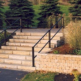 Unilock Commercial Retaing Wall Blocks and Steps called Sienastone in brown color
