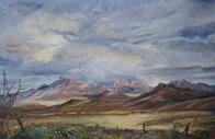 Coming Storm, pastel landscape by Lindy Cook Severns, Fort Davis TX