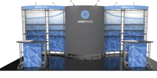 Aries 10x20 Orbital Truss trade show exhibit booth front side.